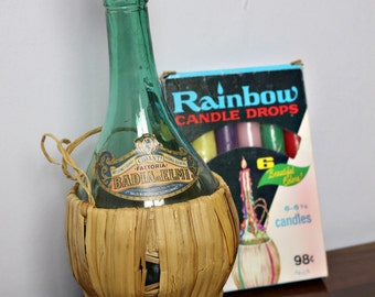 Vintage Chianti Straw Wrapped Bottle with Rainbow Drip Candles and Antique Bottle Stopper