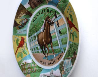 Vintage Kentucky The Bluegrass State Souvenir Plate