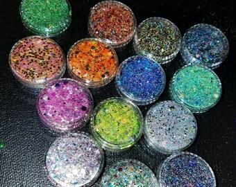 Surprise Ten Pack Glitter Samples/Custom Glitter Mix Loose Chunky Glitter/Festival Glitter/ Sparkle Dust/ Colorful Glitter Mix Glitter Combo