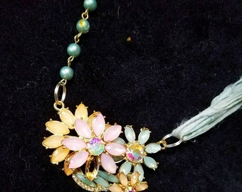 OOAK  Burst of Spring! One of kind assemblage collage necklace. Vintage pink jewelry, pale teal sari silk and seafood green beaded chain.