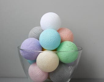 READY TO SHIP! Pastel Rainbow Cotton Ball Light | Handmade Garland