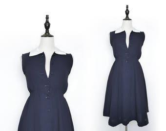 Navy Vintage Women Dress White Collar 1980s Sleeveless Size S