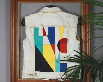 Geometric Hand Painted Distressed Denim Vest