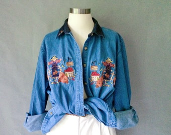 Vintage denim embroidered button down blouse thanksgiving pumpkin fall women's size S/M/L