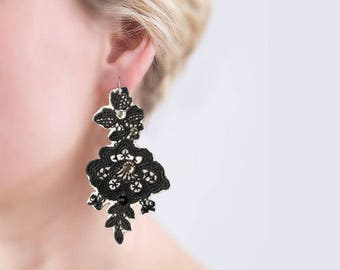 Bohemian fashion elegant earring lace jewelry fashion earring girlfriend|gift chandelier earring prom jewelry black white jewelry flower