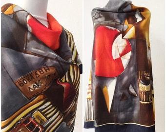 Silk scarf / Constantino Roma silk scarf / Vintage scarf / Silk shawl