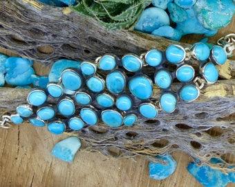 South West Turquoise, Kingman mine, Adjustable Link Bracelet, Sterling and Oxidised Silver, Blue, Gemstone, FREE WORLDWIDE DELIVERY (7697)