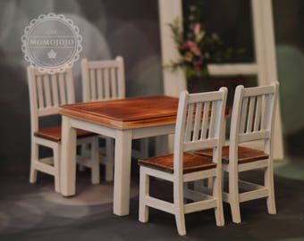 1/6 Hand Made Vintage Cottage Dining Table with 4 Chairs (White) for Blythe/ Barbie/ Azone/ Momoko/ Pullip C33