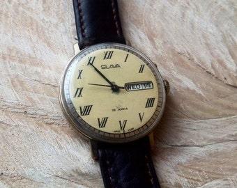 Rare! Vintage Men's Wrist Watches Mechanical watch, Soviet Gold plated watch Slava-21 jewels,Wrist watch,Working watch,