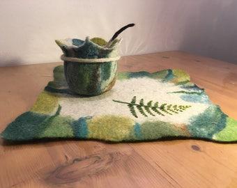 Handmade felted wool fern Bowl