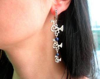 "Long Earrings ""Three Birds"" Handmade. Scandinavian Viking Jewelry. Ethnic Birds. Pagan Ancient Amulet Earrings."