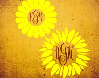 Sunflower Monogram Frame SVG File PDF / dxf / jpg / png / eps /Studio 3 Sunflower SVG File for Cameo cutters Sign Shirt Decal / Sign svg