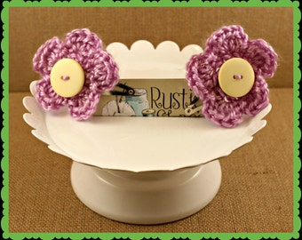 crocheted flower barrettes - flower and button barrettes
