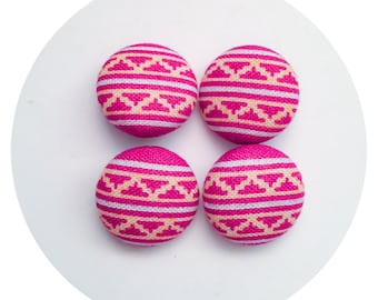 Sewing Buttons / 4 Colorful Tribal Pattern Fabric Covered Buttons Set