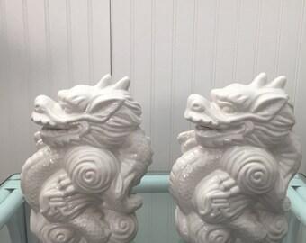 Ceramic White Dragon Figurine