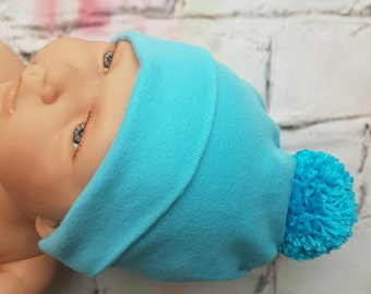 Baby Hat Minty-light turqoise baby hat with pompon-newborn hat-baby shower gift