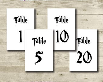 Harry Potter Table Numbers // Harry Potter Wedding // 4 x 6 // Printable // Harry Potter Birthday Party // Harry Potter Bridal Shower