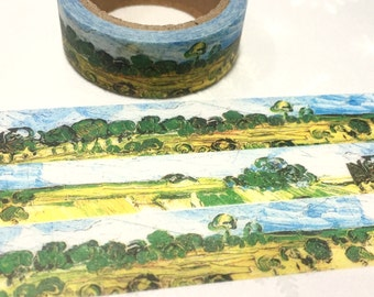 beautiful countryside scenery washi tape 7M Van Gogh oil painting sticker masking tape blue sky green tree wheat fields painting scene decor