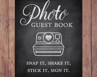 Photo guest book - snap it, shake it, stick it, sign it - rustic wedding guest book - 8x10 - 5x7