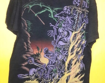Vintage 90's SKULL/swords liquid blue all over print/ made in USA