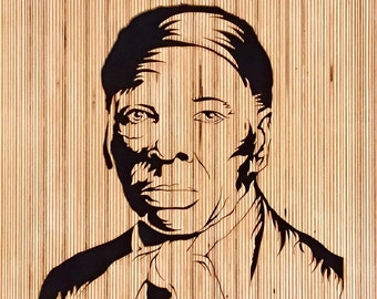 "Harriet Tubman portrait ""Noteworthy Conductor"" portrait by Jay Roberts Wooden portrait Black history Black art African American art"