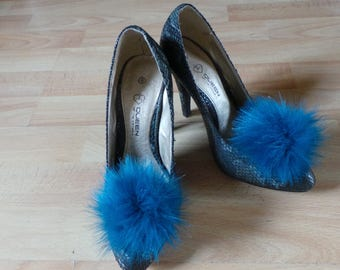 """Pair of Pom Pom Shoe Clips Nautical Blue Faux Fur 4"""" / 10 cm pom pom"""