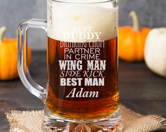 Best Man Pint Glasses - Partner in Crime - Wing Man - Side Kick Personalized 15 oz Glass - DGI23-A3