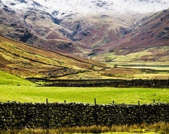 Mountain Photography - Lake District - Landscapes - Wilderness - Snow - Nature Photography - National Park - Fields of Green - 0084