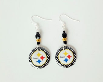 Pittsburgh Steelers Button Earrings