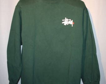 Vintage Stussy Green Long Sleeve Sweatshirt Size Large ! Excellent Condition +