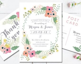 Printable Wedding Invitation Suite | Digital Invitation | Garden Wedding | DIY Wedding | Summer Flowers | Rustic | Blush