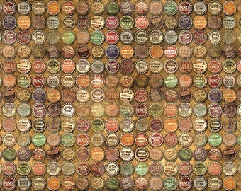 Tim Holtz Foundations Top Shop in Multi -brown orange bottle caps fabric quilting cotton neutral material yard metre PWTH021.TAUPE