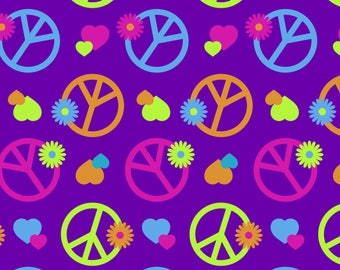 Purple Peace Signs and Flowers Heavenly Plush Fleece anti-pill polyester kids boys by the yard metre DT3720FPCW2 minky