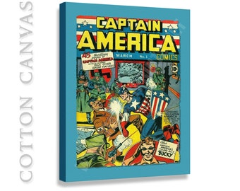 Captain America First Edition Cover Canvas Print, Canvas Wall Decor, DC Comics Wall Art, captain america wall art, captain america print