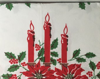 1950's Cotton Christmas Tablecloth