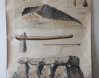 RARE Vintage French Teaching Wall Chart EMILE DEYROLLE Historical Cave of Bones Prehistoric Quirky Unusual