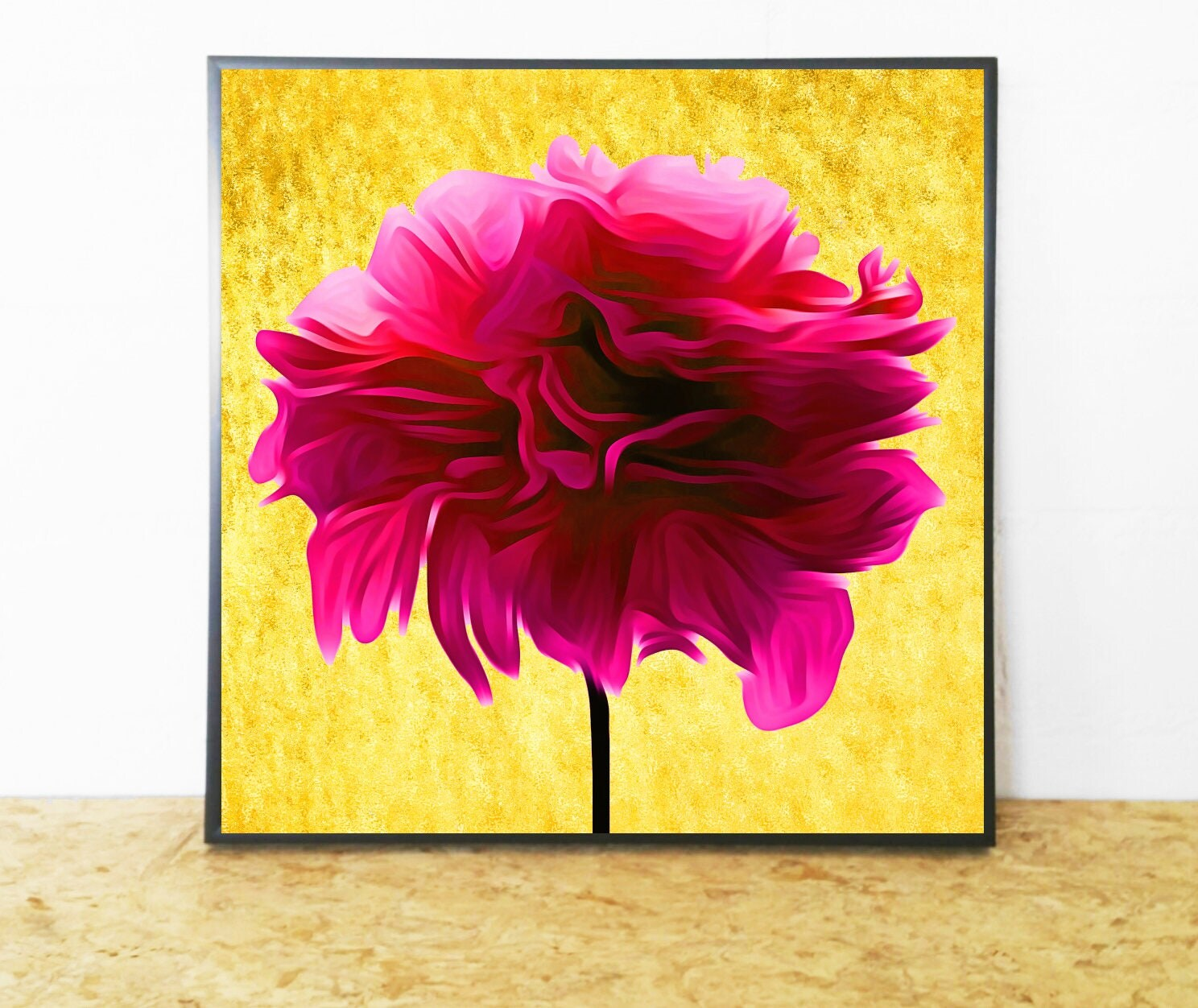 Hot Pink Flower, Print Hot Pink Art, Abstract Flower Art, Hot Pink ...