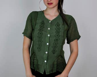 FREE SHIPPING Vintage 90s blouse, rayon blouse, embroidered blouse, bohemian blouse, festival style, button up blouse, free size