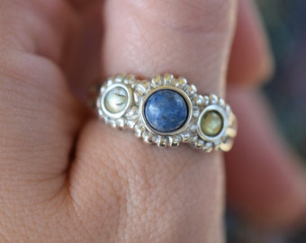Vintage Lapis and Labradorite Gemstone Band, US Ring Size 9.0, Used