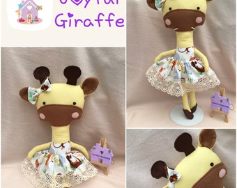 Handmade to Order Joyful Giraffe Doll Animal Soft Toy with Outfit