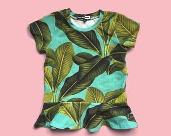 Tropical Peplum tee, peplum shirt, toddler girl shirt, toddler peplum, tropical tee, tropical shirt, tropical print