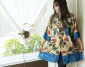 Oversize Hawaiian top, Kimono inspired, Upcycled clothing, artsy, beach coverup, blue, tan, boho, refashioned, eco fashion, Plus size