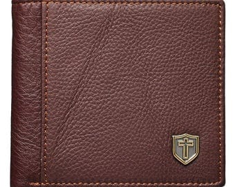 Men Genuine Leather Wallet With the Cross Shield