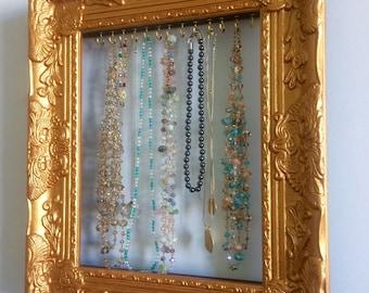 Jewelry Organizer, Necklace Hanger, Jewelry Holder, Jewelry Display, Shabby Chic Jewelry Organizer, Wall Mounted Jewelry Organizer