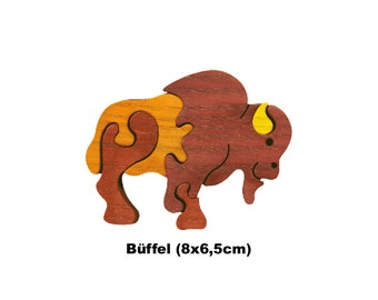 Minipuzzle Buffalo / Handmade / Animals / Wooden toys / Forest / Waldorf / Montessori