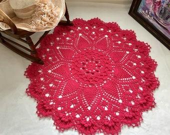 Fuchsia Pink Doily Rug - Nursery Room Decor - Area Rug - Crochet Lace Rug - Pineapple Doily Rug - Farmhouse Decor - Wedding Gift