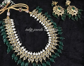 Hyderabadi nizami / Mughal jewellery set in emerald/dark green beads, pearls & polki