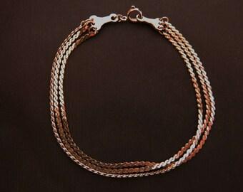 "Vintage Triple Strand Herringbone Chain Bracelet Silver Tone 7.25"""