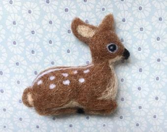 Fawn/Deer Needle-felt Wool Brooch