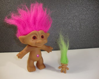 Vintage Treasure Troll with Bright Pink Hair & Miniature Troll Companion